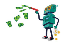 Robot ATM. Cool Robot With Glasses Shoots A Gun With Money