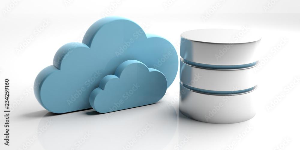 Fototapeta Database symbol and storage cloud isolated on white background. 3d illustration