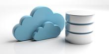 Database Symbol And Storage Cloud Isolated On White Background. 3d Illustration