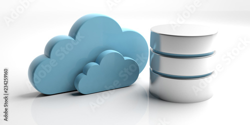 Database symbol and storage cloud isolated on white background. 3d illustration