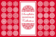 Mandala Snowflakes On Red Background Intricate Design Elements
