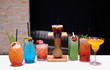Group of refreshing mixed fruit cocktails with striking colors