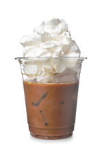 Cold Coffee Covered With Whipped Cream In Plastic Cup On White Background