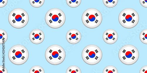 Photo  South Korea round flag seamless pattern