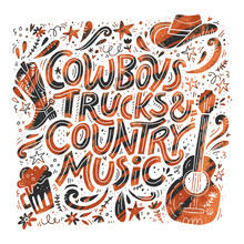 Country Music Festival Retro Poster Vector Template