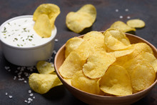 Potato Chips With Sauce Dip An...