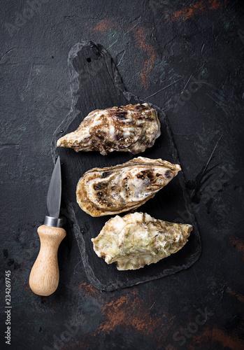 Valokuva  Fresh oysters on dark background