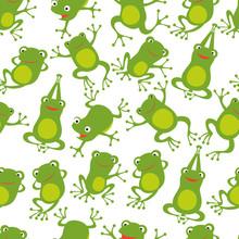 Frog Seamless Pattern. Cartoon...