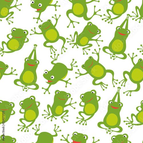 Obraz na plátně Frog seamless pattern