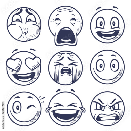 Sketch Smiley Smile Expression Icons Emoticons Faces Hand Draw