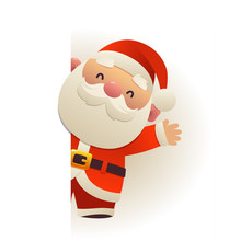 Happy Funny Santa Claus Behind Blank Signboard Cartoon Character With White Copy Space