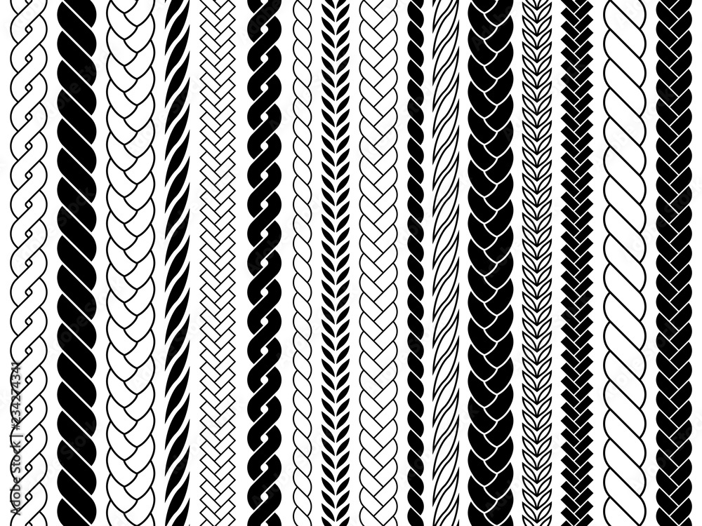Fototapety, obrazy: Plaits and braids pattern brushes. Knitting, braided ropes vector isolated collection. Braid pattern decoration, fabric textile ornament illustration