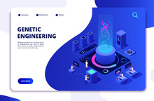 DNA Isometric Concept. Genetic Engineering Lab With People Scientists. Doctors Researching Cells. DNA Gene Therapy Vector Landing Page. Genetic Dna Lab, Medicine Biology Illustration