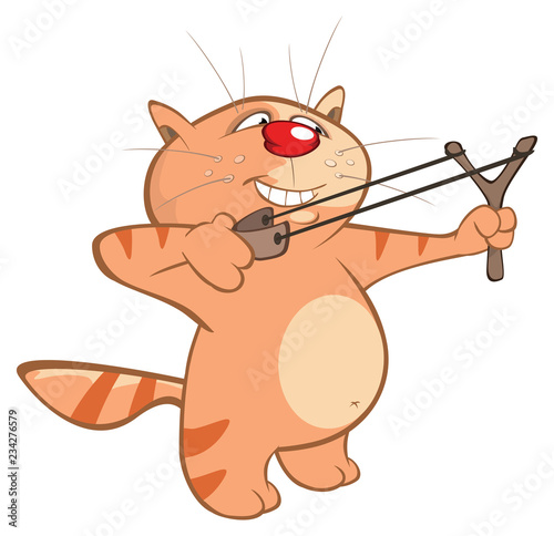 Vector Illustration of a Cute Cat and Slingshot . Cartoon Character