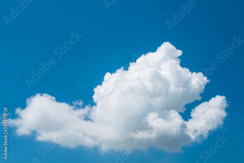obraz lub plakat Lonely white cloud on blue sky, Bright sky and beautiful single white cloud