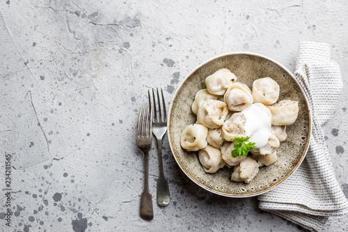 Russian pelmeni meat dumplings