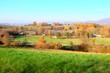 canvas print picture - Herbstlaub und Landschaft