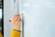 Business, People, Ideas, And Education Concept. Female Person Writting On Whiteboard.