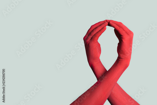 red ribbon for the fight against AIDS Canvas Print