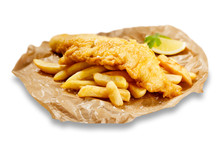 Fish And Chips, In Brown Paper