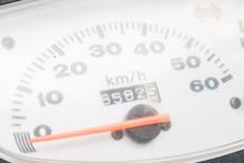 Motorcycle Speedometer Closeup View