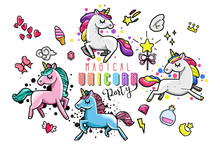 Cute Unicorn Collection With Magic Items, Rainbow, Fairy Wings, Crystals, Clouds, Potion. Hand Drawn Line Style. Vector Doodles Illustrations.