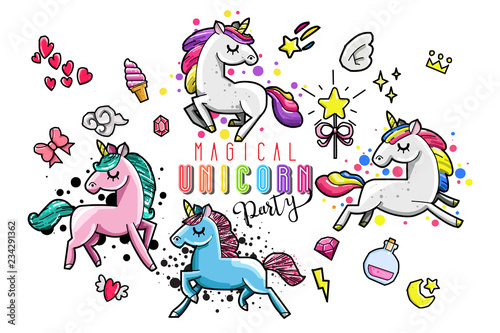 Cute unicorn collection with magic items, rainbow, fairy wings, crystals, clouds, potion Fototapeta
