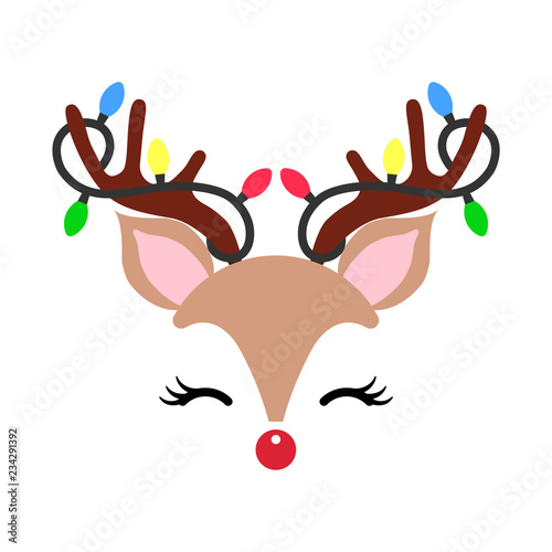 Cute Christmas Pictures.Cute Christmas Red Nose Reindeer Face Vector Funny Cartoon