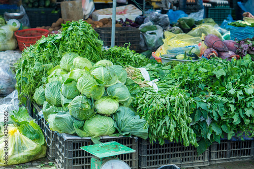 Foto  Vegetables at a local market of Sapa in the north of Vietnam
