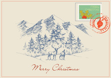 Christmas Postcard In Vintage Style. Winter Scene, Mountains And Forest Background