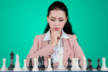 Young Business Woman Playing C...