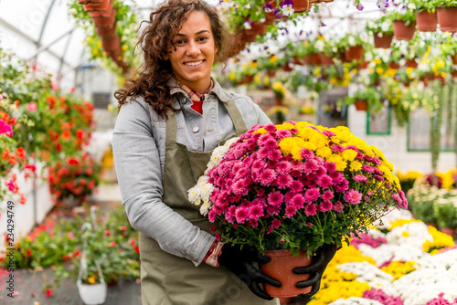 Florist working in green house