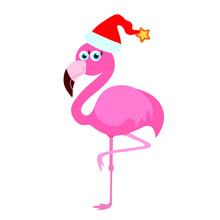 Flamingo With Elf Hat Illustration