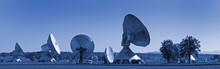 Satellite Dishes At Night Near Munich, Germany