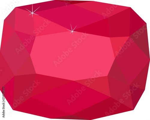Natural Red Spinel gemstone on white background Canvas Print