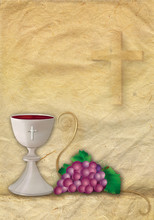 Card Christian Symbols With 3d Grapes And Chalice