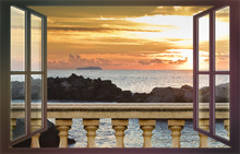 Concrete Balustrade Against A Calm Sea At Sunset - Concept Image Seen From A Window