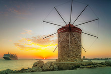 Rhodes Windmill And Cruise Ship At Sunrise