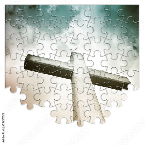 Rebuild or losing our faith - Christian cross concept image in jigsaw puzzle sha Fototapet