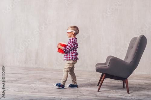 Little child in 3d glasses