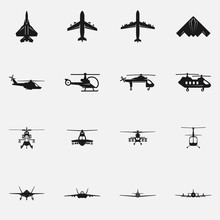 Set Of Military Aircraft Flat ...