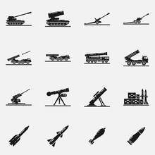 Set Of Artillery Flat Vector Icons. Includes Such Elements As Multiple Launch Rocket Systems, Mortar, Howitzer, Missiles, Bombs And Other Military Equipment.
