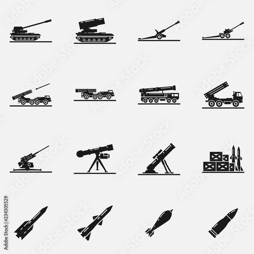 Photo Set of artillery flat vector icons
