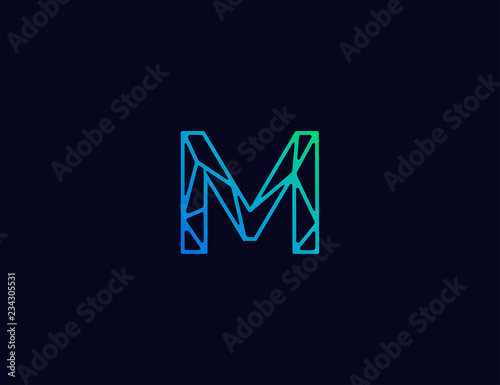 Photo  Abstract line art logo. letter M tech logo template