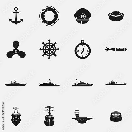 Leinwand Poster Set of naval fleet elements flat vector icons.