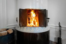 Fire In A Tiled Stove