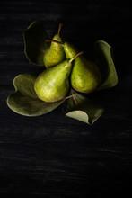 Pears Arranged On Leaves