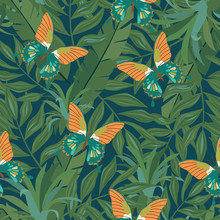 Beautiful Seamless Vector Floral Summer Pattern Background With Tropical Palm Leaves, Flowers And Butterfly For Wallpapers, Web Page Backgrounds, Surface Textures, Textile