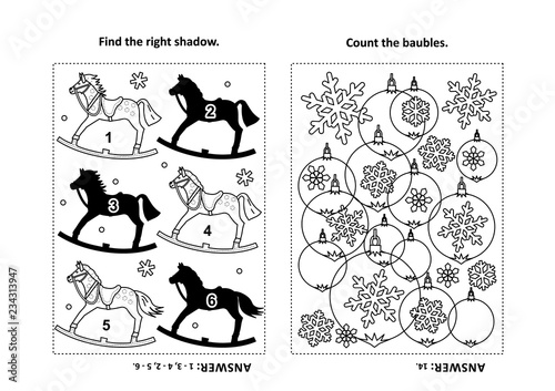 Two visual puzzles and coloring page for kids Canvas-taulu