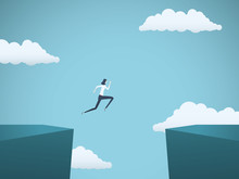 Business Woman Jumps Across Gap Vector Concept. Symbol Of Business Challenge, Opportunity, Success, Ambition And Motivation.